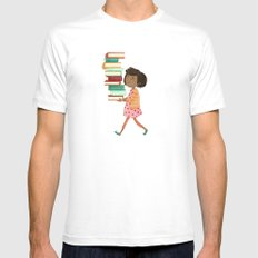 Library Girl 4 White MEDIUM Mens Fitted Tee