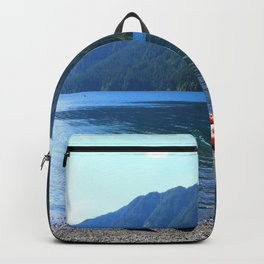 Lake Crescent With Beached Canoes Backpack