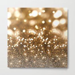 Pure Gold - Christmas Gold Glitter Metal Print