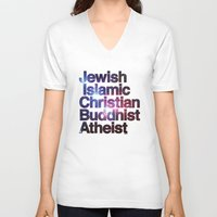 religion V-neck T-shirts featuring RELIGION by CHAD MIZE /// CHIZZY