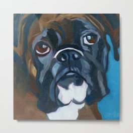 Boxer Lil E Dog Portrait Metal Print