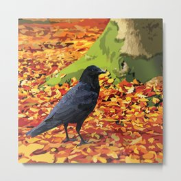 Raven in Autumn Forest Metal Print