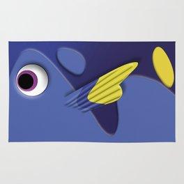 Blue ornamental fish cartoons Rug