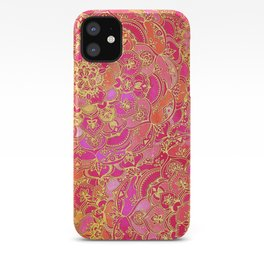Hot Pink and Gold Baroque Floral Pattern iPhone Case