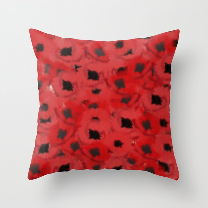 Field of Poppies In Summer Throw Pillow
