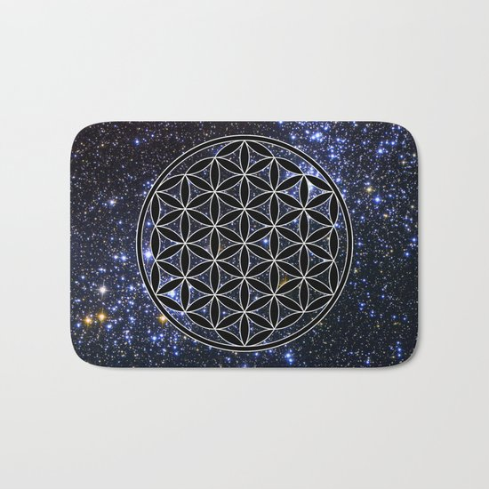 Flower of life in the space Bath Mat