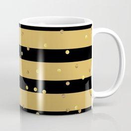 Christmas Golden confetti on Gold and Black Stripes Coffee Mug