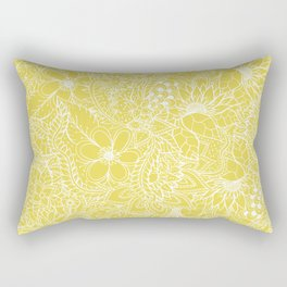 Modern trendy white floral lace hand drawn pattern on meadowlark yellow Rectangular Pillow