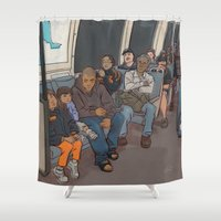 "subway Shower Curtains featuring SUBWAY CROWD by ""dfrnt"""