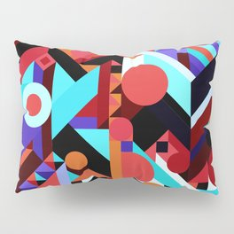 CRAZY CHAOS ABSTRACT GEOMETRIC SHAPES PATTERN (ORANGE RED WHITE BLACK BLUES) Pillow Sham