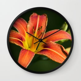 Orange Lily Flower Wall Clock