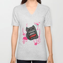 lazy cat chill Heart Unisex V-Neck
