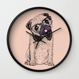 Hipster Pug Wall Clock