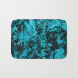 Blue Gemstone and Ink Malachite Glitter Marble Bath Mat