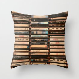 Vintage Cassettes (Color) Throw Pillow