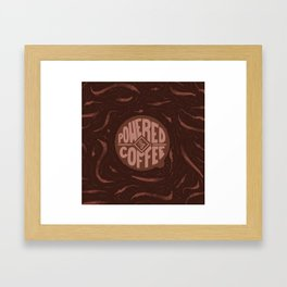 powered by coffee and swirls Framed Art Print