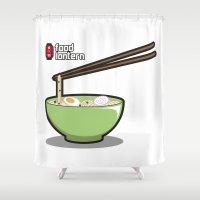 ramen Shower Curtains featuring Food Lantern - Ramen by binario