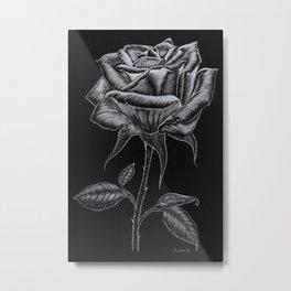 Silver Rose Metal Print