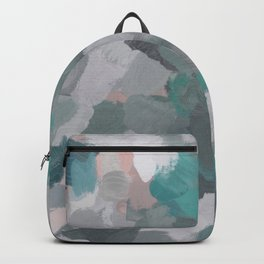 Mint Teal Blue Coral Pink Heather Gray Abstract Flower Wind Expressive Painting Modern Wall Art Backpack