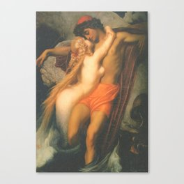 Syren and a Fisherman by Frederic Leighton Canvas Print