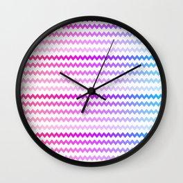 Rainbow Ombre Chevron Wall Clock