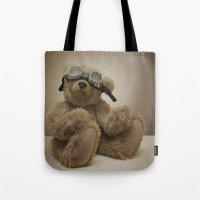 teddy bear Tote Bags featuring Teddy by Mary Kilbreath