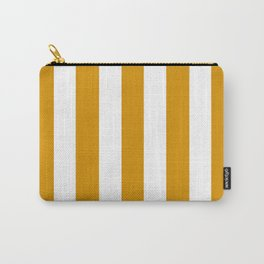 Harvest gold orange - solid color - white vertical lines pattern Carry-All Pouch