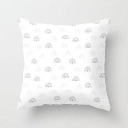Light Grey Minimal Rainbow Monochrome Hand-Drawn Seamless Pattern Throw Pillow