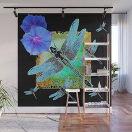 BLUE DRAGONFLIES MORNING GLORIES BLACK ART Wall Mural