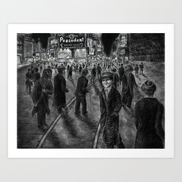 Untitled - charcoal drawing - new york, cityscape, 1930s Art Print