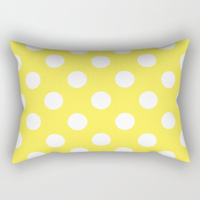 Lemon yellow - yellow - White Polka Dots - Pois Pattern Rectangular Pillow