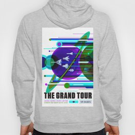 NASA Space Saturn Shuttle Retro Poster Futuristic Explorer Blue Hoody