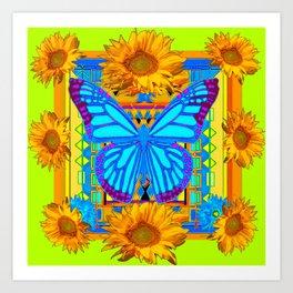 Lime Sunflower Blue Butterfly Floral Art Print
