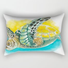 Sea Turtle Yellow Teal Watercolor Rectangular Pillow