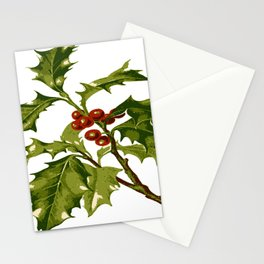 Holly Christmas Red Berry Stationery Cards
