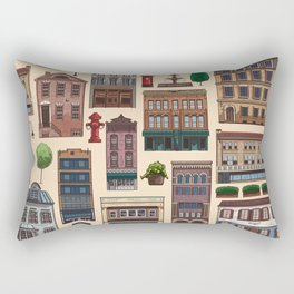 Vintage white brown architecture town pattern Rectangular Pillow