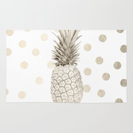 Gold Pineapple Polka Dots 1 Rug
