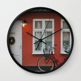 Red Bike in Malmö Wall Clock