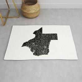 Texas Black Map Rug