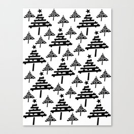 Simple Black Christmas Tree Pattern Canvas Print