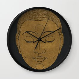 Buddha Head by Reijer Stolk Wall Clock