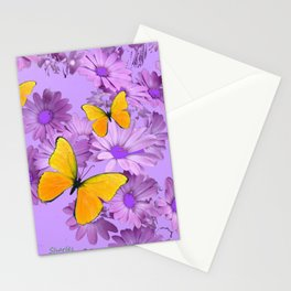 Yellow Butterflies Pinkish Lilac Color Purple Daisy Flowers Stationery Cards