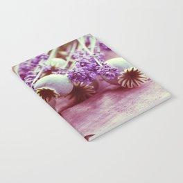 Opium poppy capsule Lavender flower still life Notebook