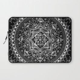 White Flower Mandala on Black Laptop Sleeve