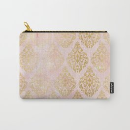 floral gold leaf diamond arabesque on pink Carry-All Pouch