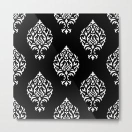 Orna Damask Pattern White on Black Metal Print
