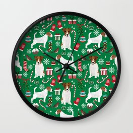 Jack Russell Terrier christmas festive holiday red and green dog lover gifts Wall Clock