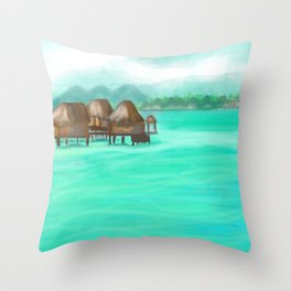 Painterly over the water bungalows in French Polynesia  Throw Pillow