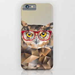 Low Poly Hipster Owl iPhone Case