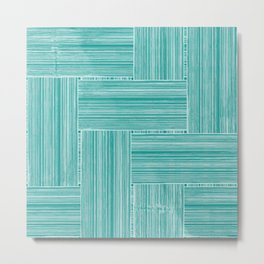 Woven Bamboo Texture Sea Green Metal Print